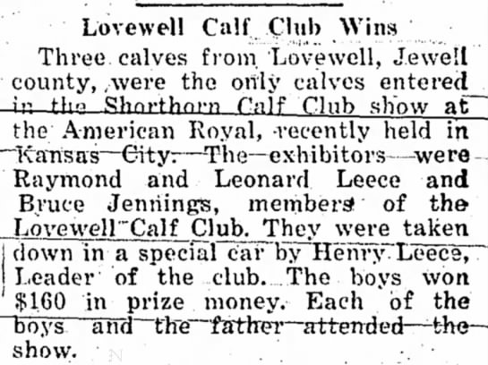 Lovewell calf club - Lovewell Calf Club Wins Three calves from...