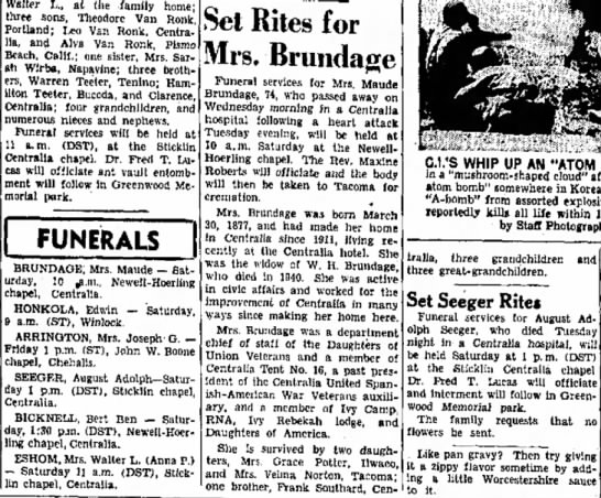 Brundage, Maude Funeral and obit -