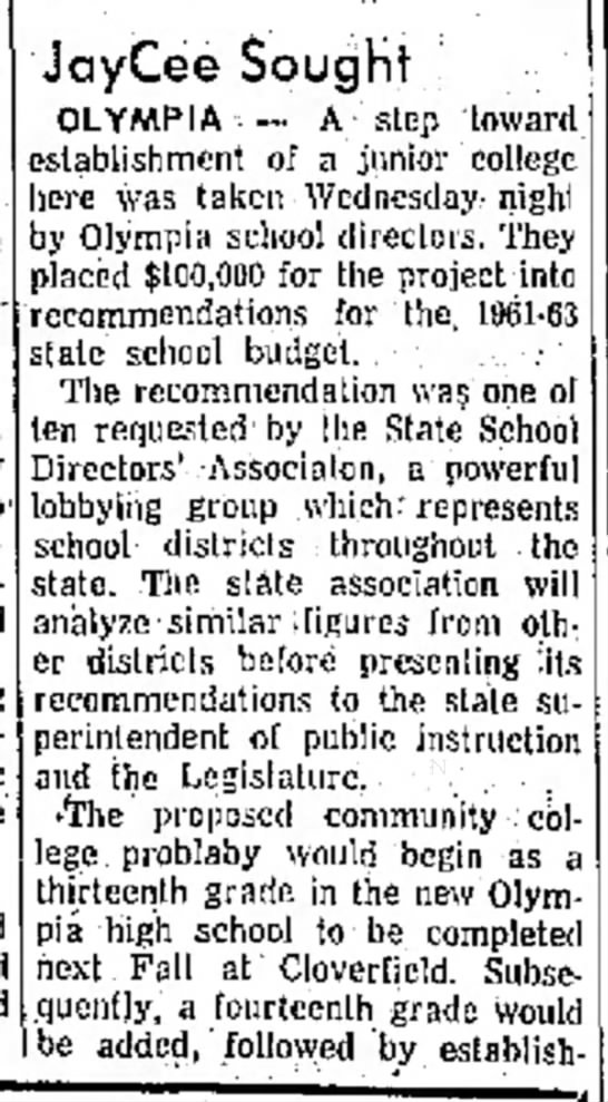 Beginning of Oly. Voc. Tech.