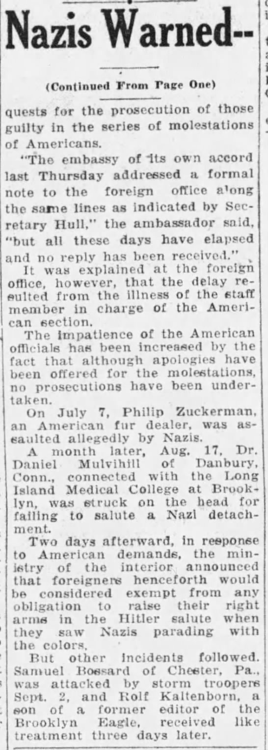 Page 2 - Powers Warn Nazi Attacks Must Cease (Binghamton, NY) - October 12, 1933 -