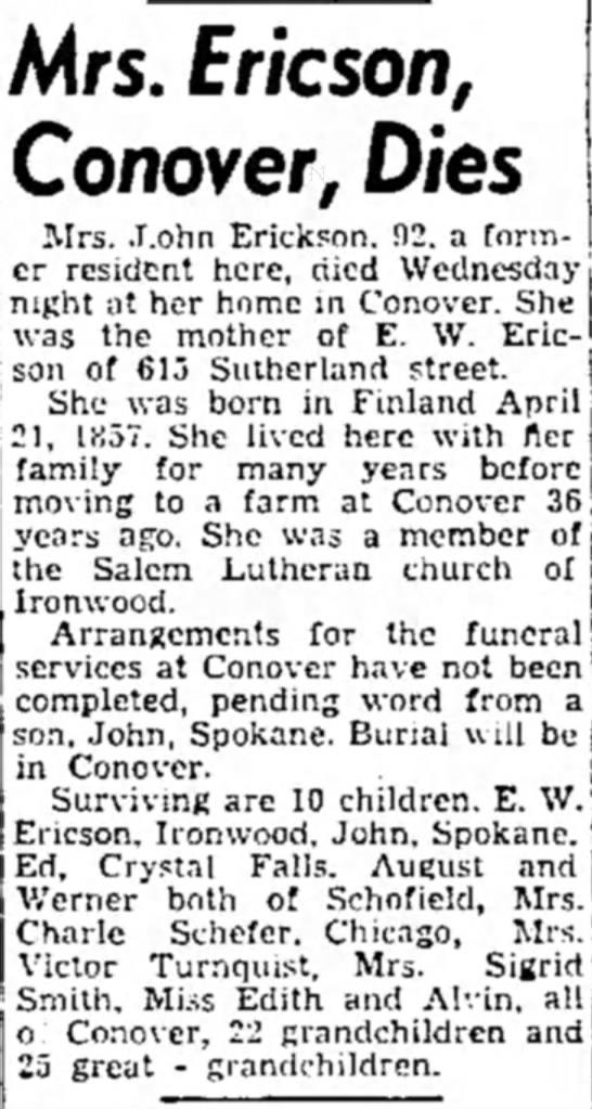 - A<rs. Fr/cson, Conover, Dies Mrs. .T.ohn...
