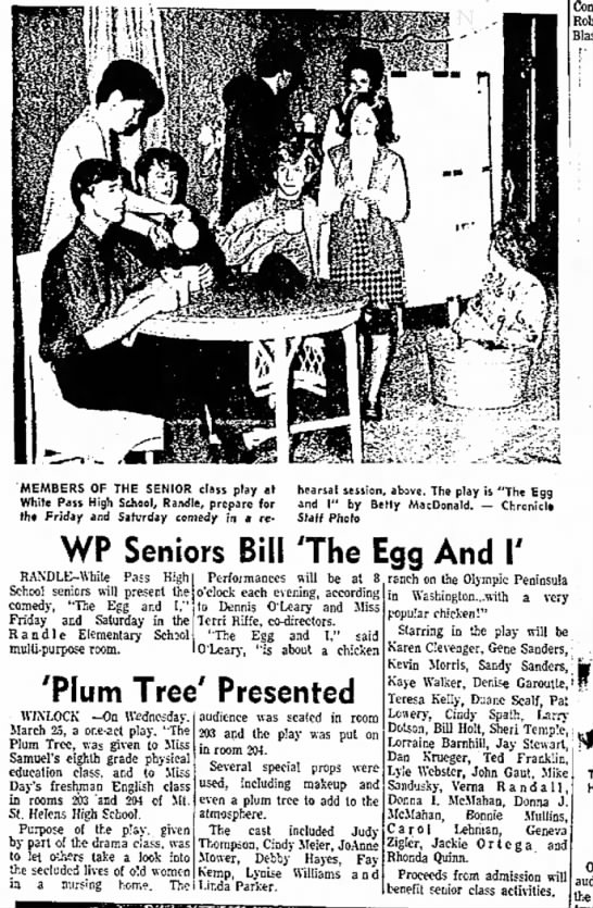 I remember going with Mom to watch Kevin in 'The Egg & I'. - MEMBERS OF THE SENIOR class play at White Pass...