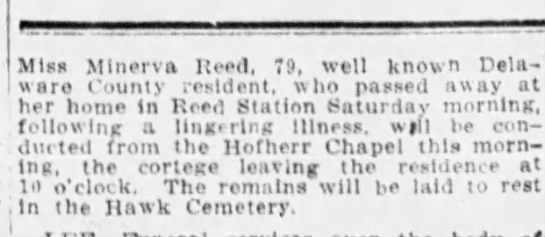 Minerva Reed funeral - Newspapers com