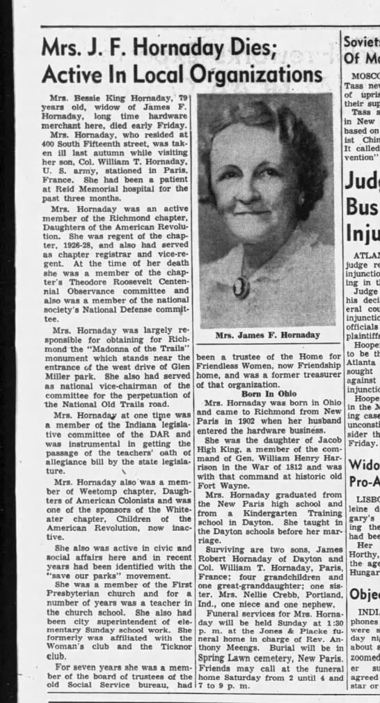 Mrs. J F Hornaday obit - Indiana Hornaday  1957 -