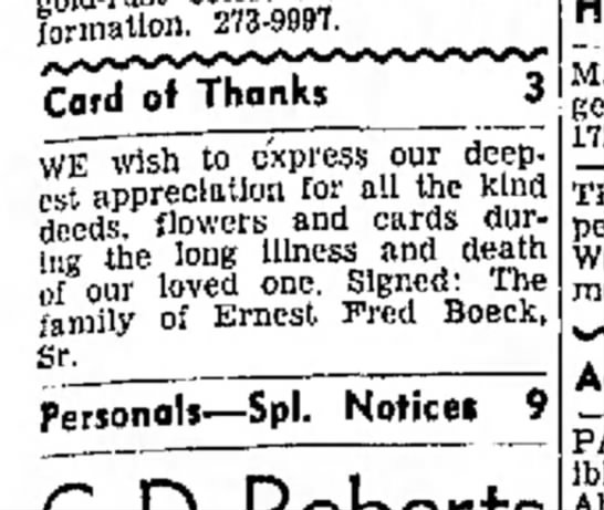Fred Boeck Family Death -