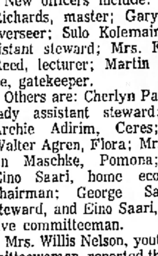 Cougar Flat Grange officer Installation - Colleen Adirim 1963 -