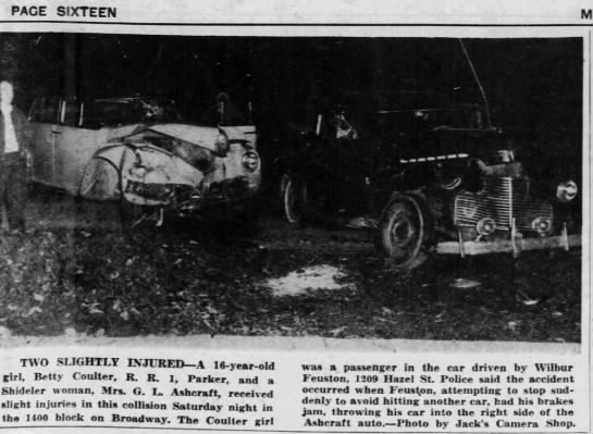 Betty Coulter in a car accident  Muncie Evening Press, Muncie