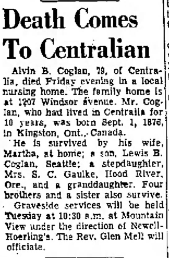 Dell didn't stay married to Alvin B. Coglan apparently The Daily Chronicle 19 Dec 1955 -