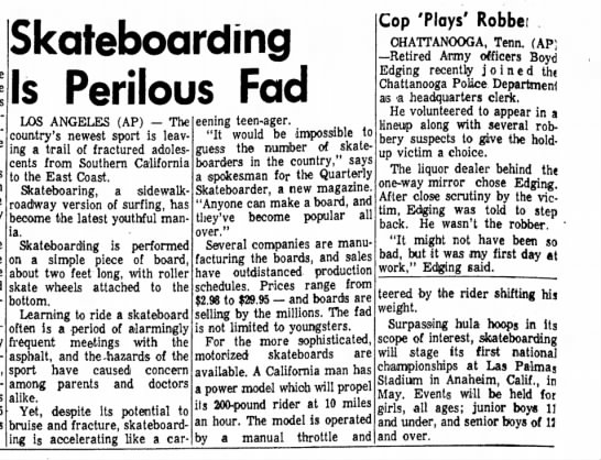 Skateboarding - Apr 7, 1965 The Express, Lock Haven, PA. -