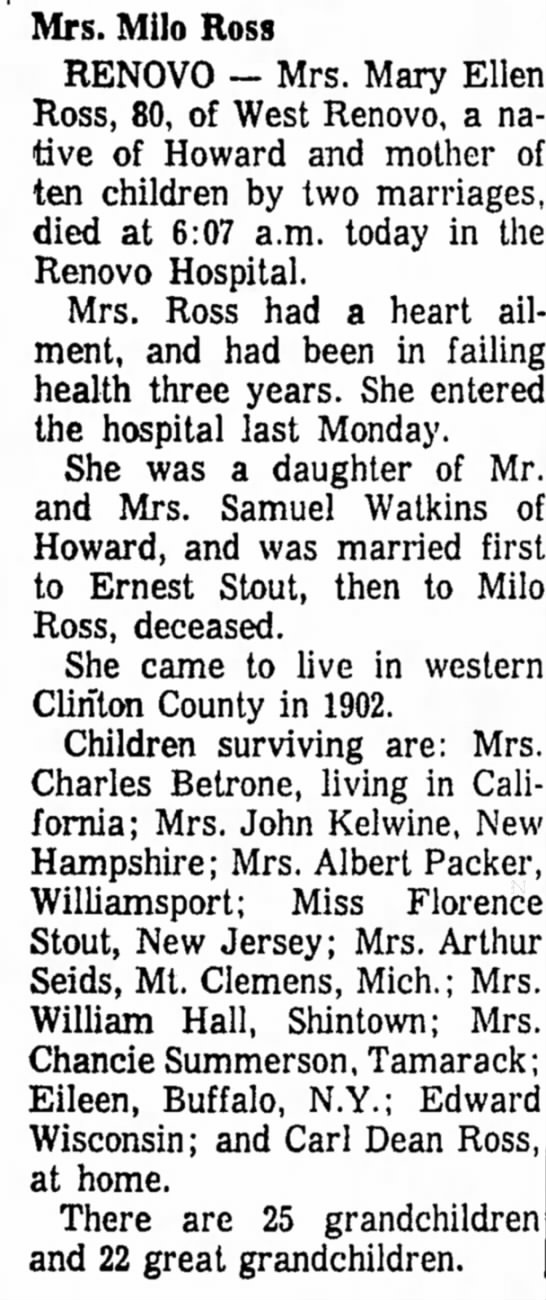 mary Watkins stout ross obit 1965 -