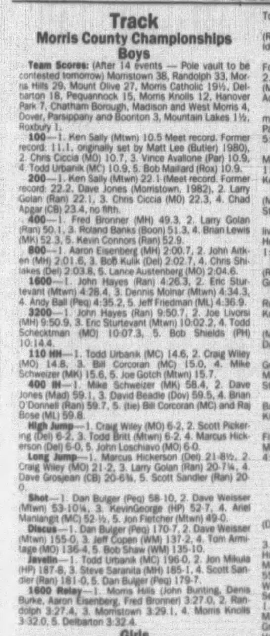 Morris County Champs May 18 1985 -