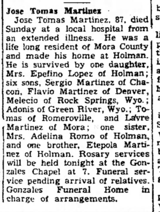 Las Vegas Daily Optic NV 14 Oct 1957 p7 - Tomas Martinez -