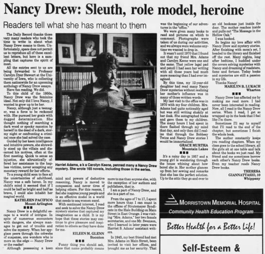 Nancy Drew an inspiration still in 1994 -