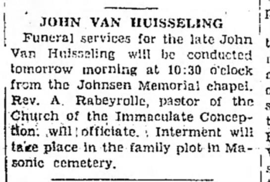 John Van Huisseling 19 Sept 1933 obit Las Vegas Optic -