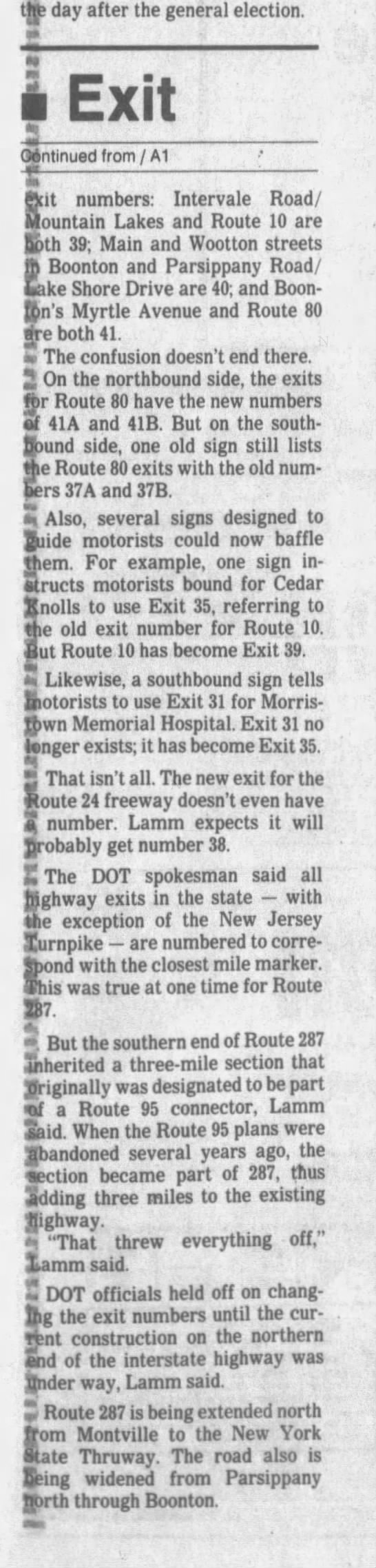 Interstate 287 exit numbers, December 17, 1992 part 2 -