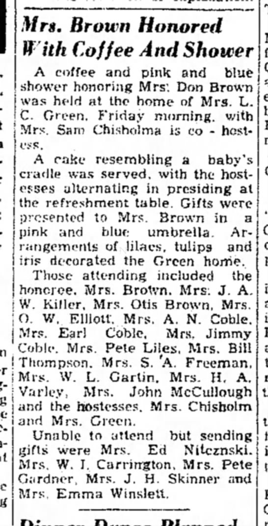 Jewel Owings Coble 1957 attends baby shower, A.N. Coble, Earl Coble. -