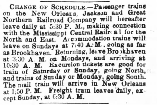 1868, passenger trains announcement -