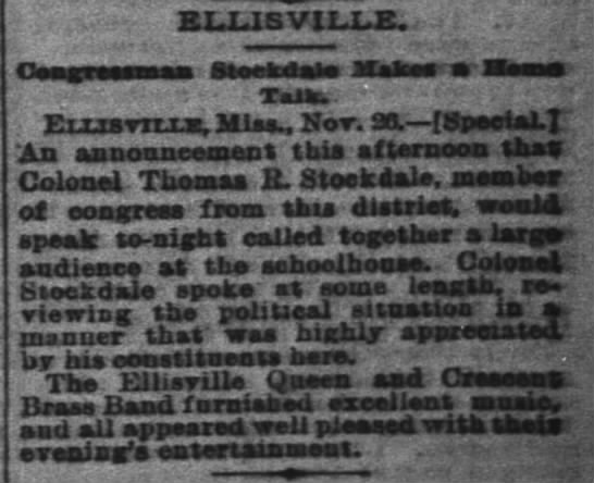 Congressman Stockdale Making a Home Talk. 1888 - ELLIS VILLE. Ceegreesmasi SteeadaJe Slakes...