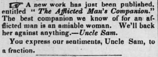 The Afflicted Man's Companion by Uncle Sam - 13F A new work has just been published....