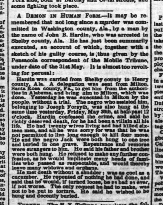 Times-Picayune, 4 June 1851, page 1. John B. Hardin -
