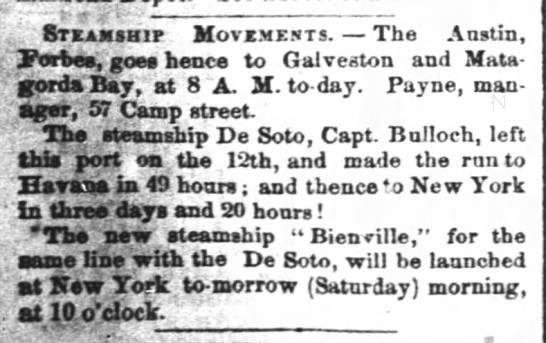 1860 04 20 T-Pic JDB DeSoto Bienville Launching - - t. . - Steamship Move.me.its. The Austin, '...