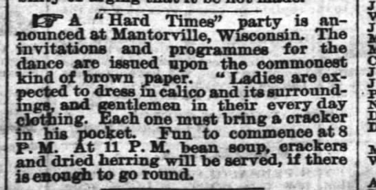 Hard Times Party in Mantorville -