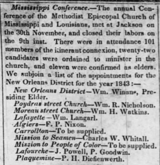 The Times-Picayune (New Orleans, LA) December 17, 1842. Charles W. Whitall, Mission to Seamen -
