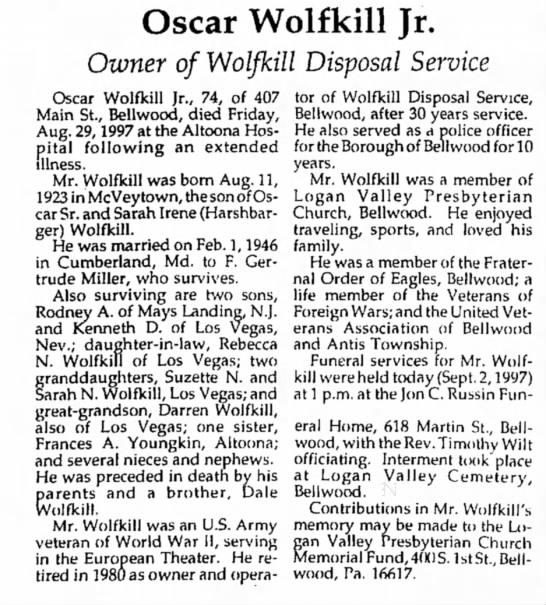 Oscar Wolfkill Jr. obit-Tyrone Daily Herald-02 Sep 1997 page 2 - Oscar Wolfkill Jr. Owner of Wolfkill Disposal...