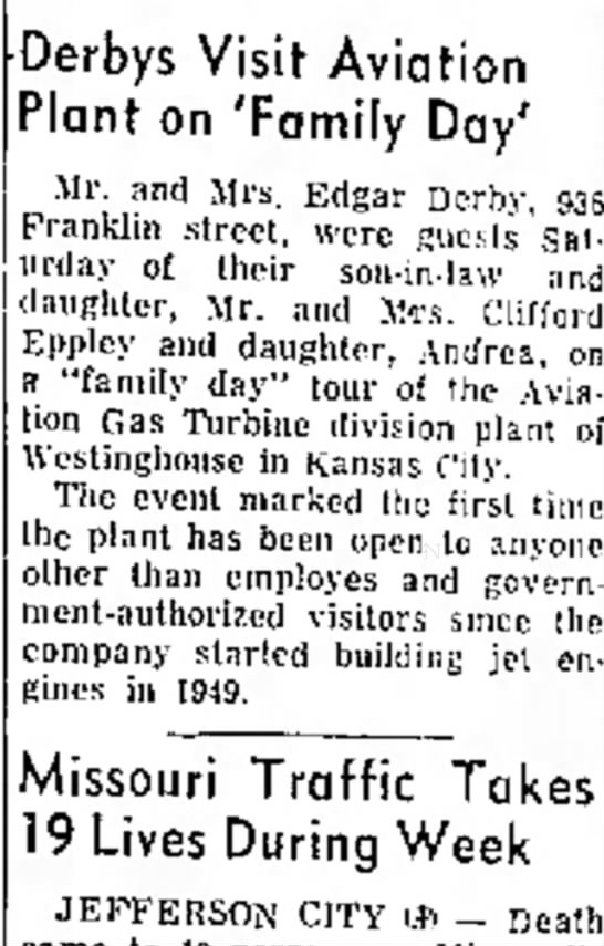 Eppley Derby Moberly MO 29 Apr 1957 -