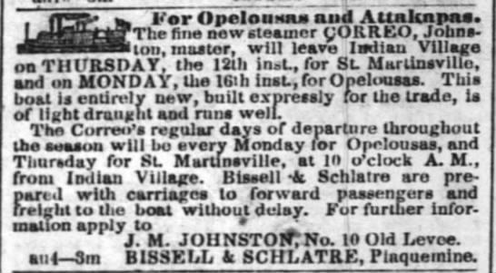Bissell & Schlatre 1847 Aug 17 -