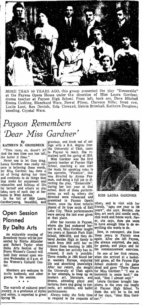 Payson Remembers 'Dear Miss Gardner'  - Newspapers com
