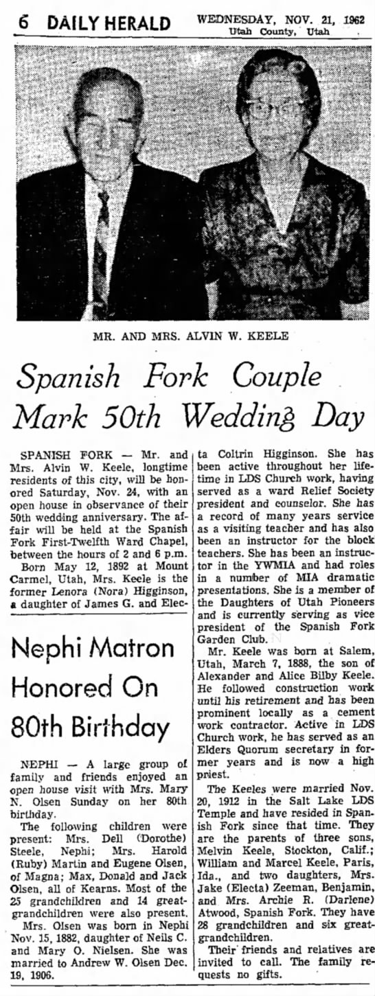 Alvin Keele 50th wedding - 6 DAILY HERALD WEDNESDAY, NOV. 21, 1962 Utah...