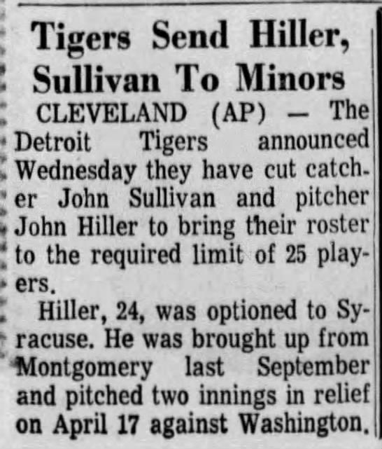 Tigers Send Hiller, Sullivan To Minors -