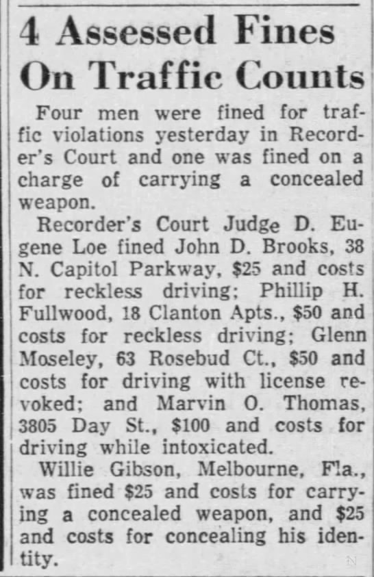 - 4 Assessed Fines On Traffic Counts Four men...
