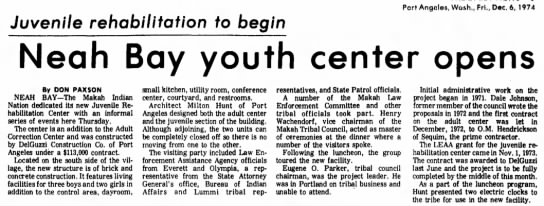 Neah Bay Youth Center, 12-6-1974 -