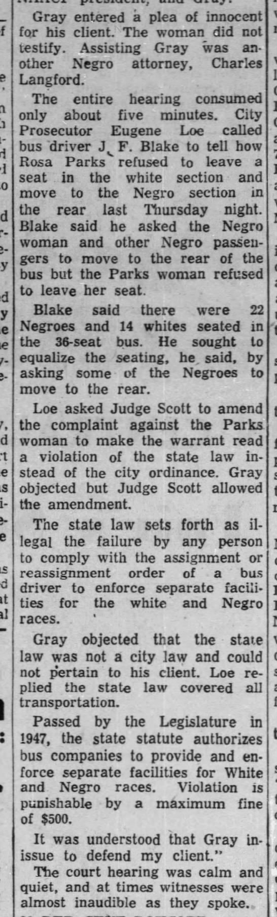 Account of Rosa Park's trial for refusing to give up her seat on the bus -