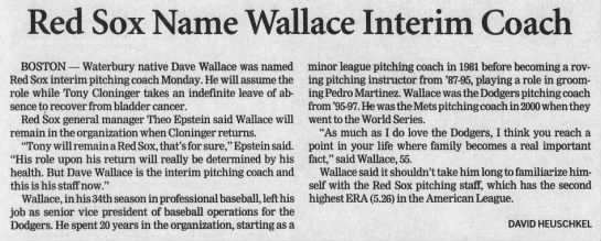 Red Sox Name Wallace Interim Coach -