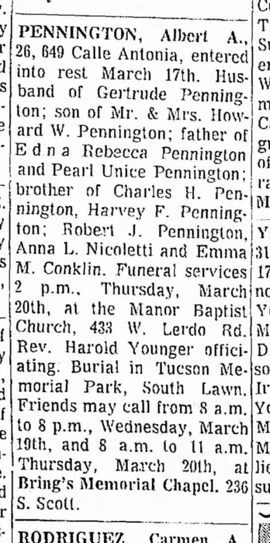 Albert A Pennington, son of M/M Howard W Pennington obit March 1969 -