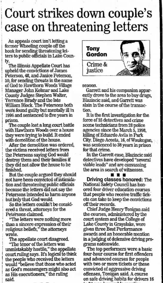William Block - Case upheld -