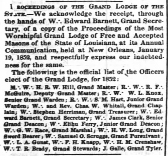 The Times-Picayune (New Orleans, LA) April 16, 1852. Charles W. Whitall, Grand Lodge of the State -