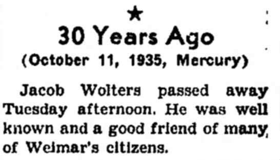 Jacob Wolters Death  -
