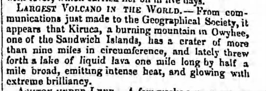 "Kilauea 1840 eruption is described as ""glowing with extreme brilliancy"" -"