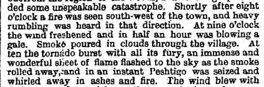 Fire approaches Peshtigo shortly after 8 PM -
