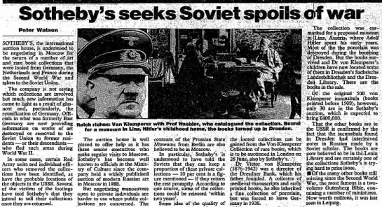 Von Klemperer collection of rare books in Sotheby's sale. The Observer, 6/16/1991 -