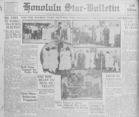 Oct. 2, 1920: Women vote in Hawaii for the first time -