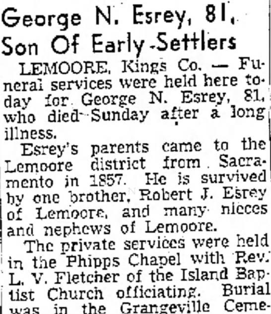 GeorgeNEsreyobit - George N. Esrey, 8 Son Of Early-Settlers...