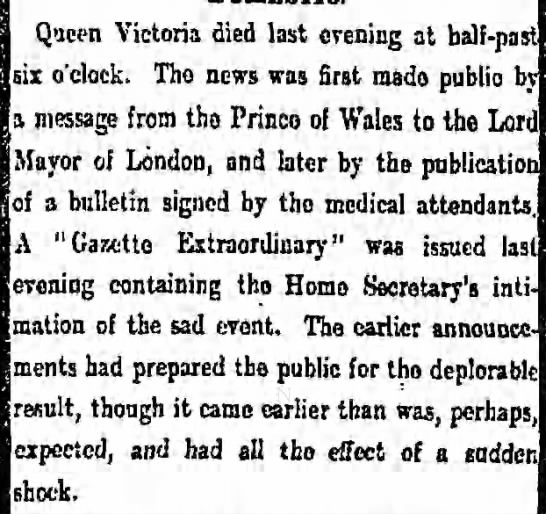 Death of Queen Victoria -