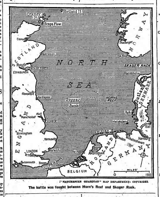 Map of North Sea, where Battle of Jutland took place -