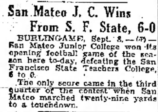San Mateo JC Wins From SF State -