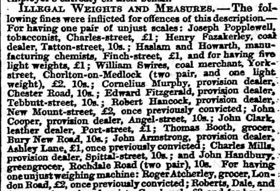 Police Courts. City Police Court. ... Illegal Weights and measures.[Roger Atcherley, grocer, fined] -